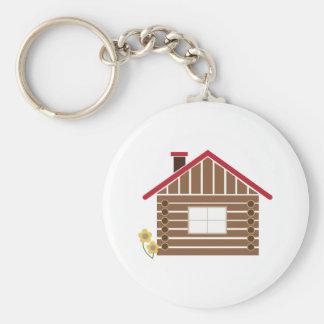 Log Cabin Basic Round Button Key Ring