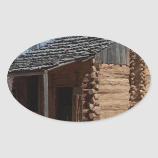 Log Cabin Oval Sticker