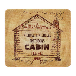 Log Cabin Personalized Faux Wood Cutting Board