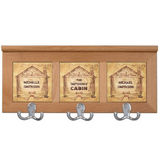 Log Cabin Personalized Faux Wood Coat Rack