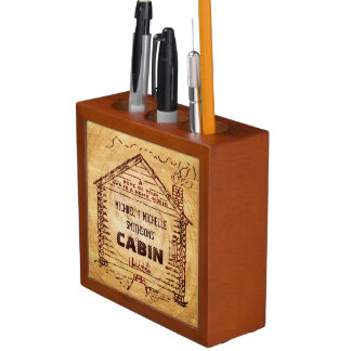Log Cabin Personalized Faux Wood Pencil/Pen Holder