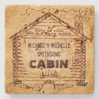 Log Cabin Personalized Faux Wood Stone Coaster