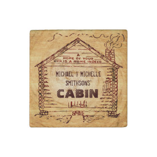 Log Cabin Personalized Faux Wood Stone Magnet