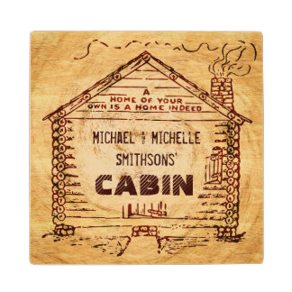 Log Cabin Personalized Faux Wood Maple Wood Coaster