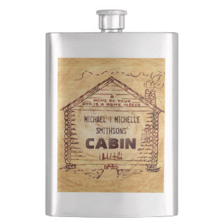 Log Cabin Personalized Faux Wood Hip Flasks