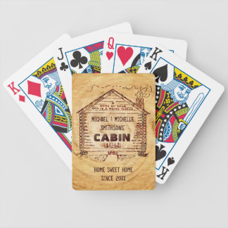 Log Cabin Personalized Faux Wood Bicycle Poker Deck