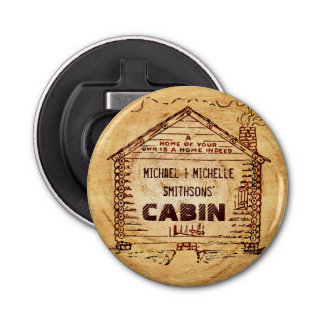 Log Cabin Personalized Faux Wood Button Bottle Opener