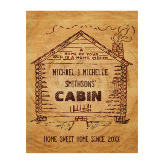 Log Cabin Personalized Wooden Wood Print