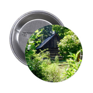 log cabin pinback button