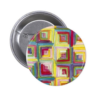 log cabin quilt 6 cm round badge