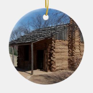 Log Cabin Round Ceramic Decoration