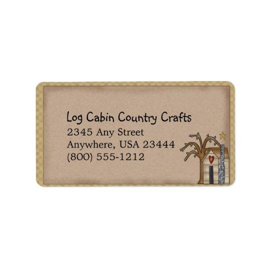 Log Cabin Rustic Primitive Country Label