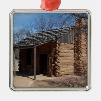 Log Cabin Silver-Colored Square Decoration