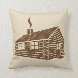 Log Cabin | Sketch Throw Pillow