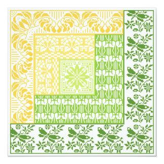 Log Cabin Spring 5.25x5.25 Square Paper Invitation Card