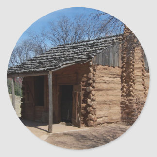 Log Cabin Round Sticker