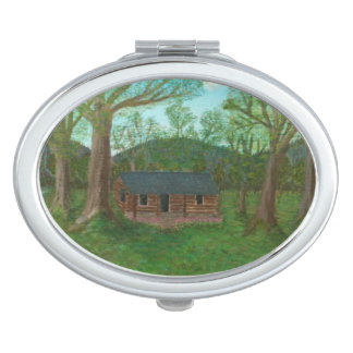 Log Cabin & Trees Makeup Mirror