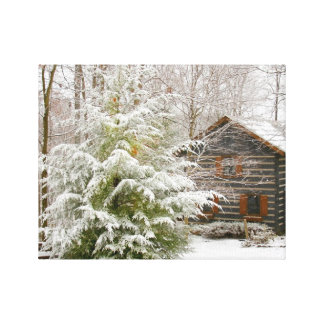 Log Cabin Winter Gallery Wrapped Canvas