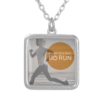 Log Off Shut Down Go Run Silver Plated Necklace