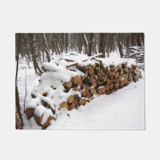 Log Pile in the Woods Door Mat