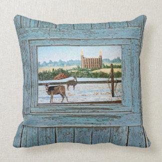 Logan Temple Oil Painting, Blue tone, Cushion