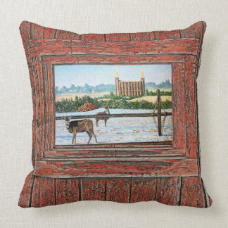 Logan Temple Oil Painting, red tone, Cushion