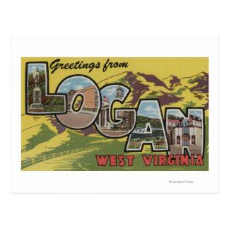 Logan, West Virginia - Large Letter Scenes Postcard