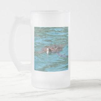 Loggerhead Sea Turtle Frosted Glass Beer Mug