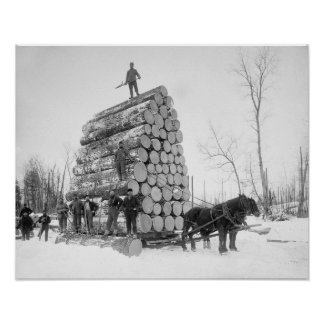 Loggers At Work, 1890. Vintage Photo Poster