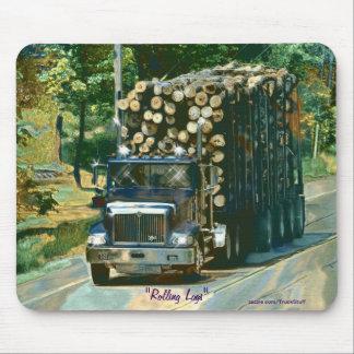 Logging Truck Highway Driving Art Mousepad