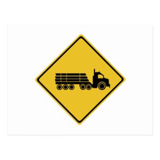 Logging Truck Warning, Traffic Warning Sign, AU Postcard