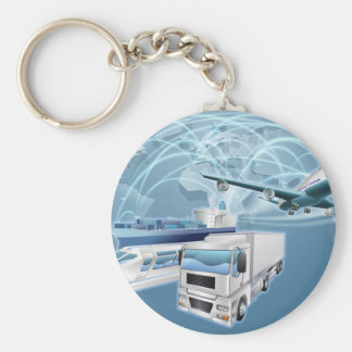 Logistics Concept World Trade Map Basic Round Button Key Ring