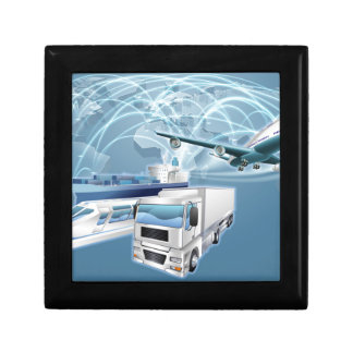 Logistics Concept World Trade Map Gift Box