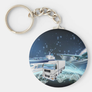 Logistics Globe Concept Basic Round Button Key Ring