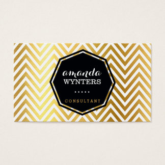 LOGO cool chevron pattern gold foil badge octagon