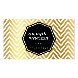 LOGO cool chevron pattern gold foil badge octagon Pack Of Standard Business Cards