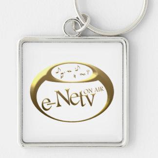 Logo e-Netv ON AIR square key ring Silver-Colored Square Key Ring