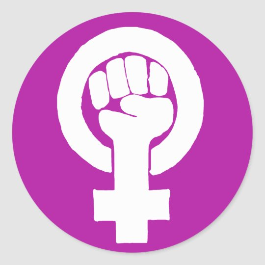 Logo, feminist / feminista, equality / igualidad: classic round sticker