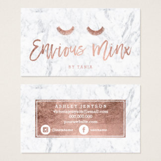 Logo lashes rose gold typography white marble business card