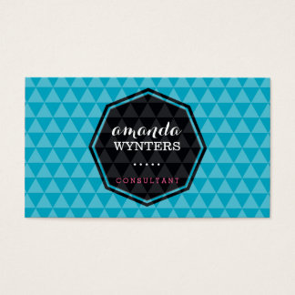 LOGO modern geo pattern emblem octagon turquoise Business Card