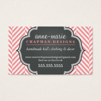 LOGO modern herringbone pattern coral badge grey Business Card