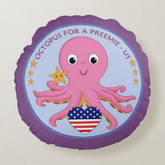 Logo Round Throw Pillow Octopus For A Preemie US
