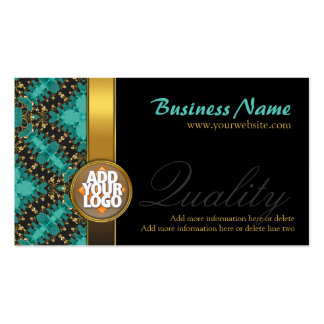 Logo + teal gold and black fashion Business Cards