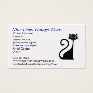 logocat04w10, Nine Lives Vintage Wears, 602 Eas... Business Card
