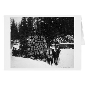 Logs being hauled on a Sleigh by a Team of Horse Card