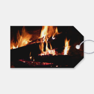 Logs in the Fireplace Warm Fire Photography Gift Tags