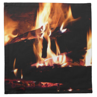 Logs in the Fireplace Warm Fire Photography Napkin