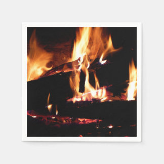 Logs in the Fireplace Warm Fire Photography Paper Napkins