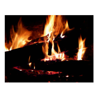 Logs in the Fireplace Warm Fire Photography Postcard