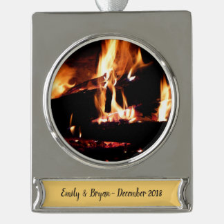 Logs in the Fireplace Warm Fire Photography Silver Plated Banner Ornament